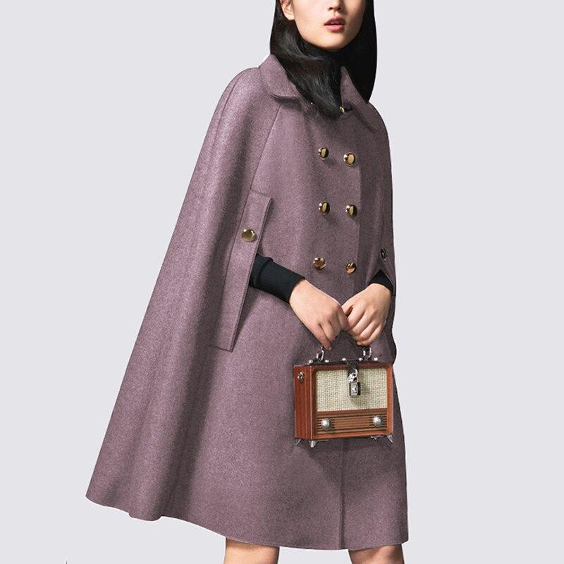 Femmes Automne Style Laine Manteau Épais Long Double Poncho Capes Haute Outwear Boutonnage caramel Lxunyi Veste Qualité Cape Coréenne À Black ZEqtCI