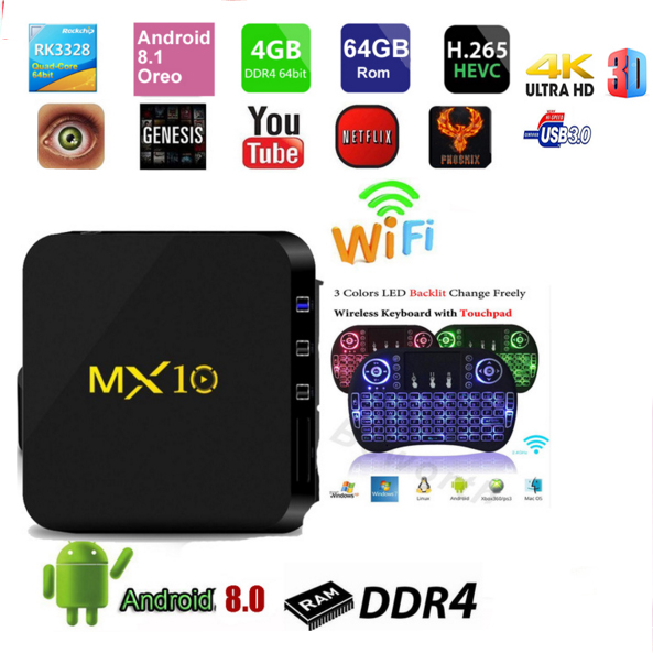 лучшая цена 10PCS MX10 TV Box Android 8.1 4GB DDR4 32GB/64GB RK3328 Quad-Core 2.4G WiFi 100M LAN H.265 HDR10 4K USB 3.0 Smart Media Player