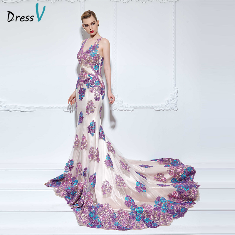 Dressv lace appliques long celebrity dress sexy V Neck mermaid sleeveless multi color court train celebrity dress evening dress