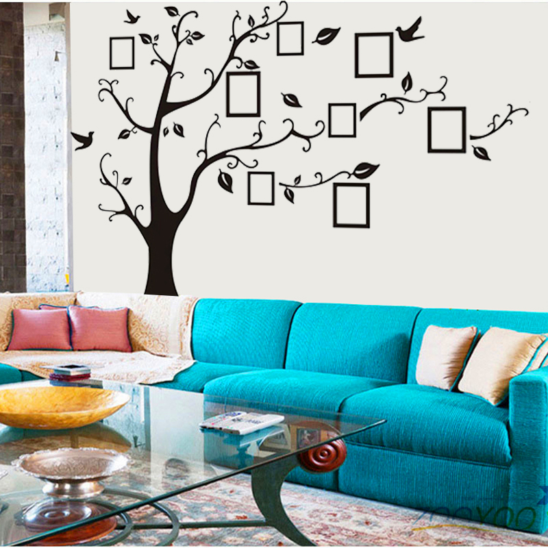 3designs small/medium/large photo frame family tree wall stickers arts zooyoo94ab home decorations living room decals posters