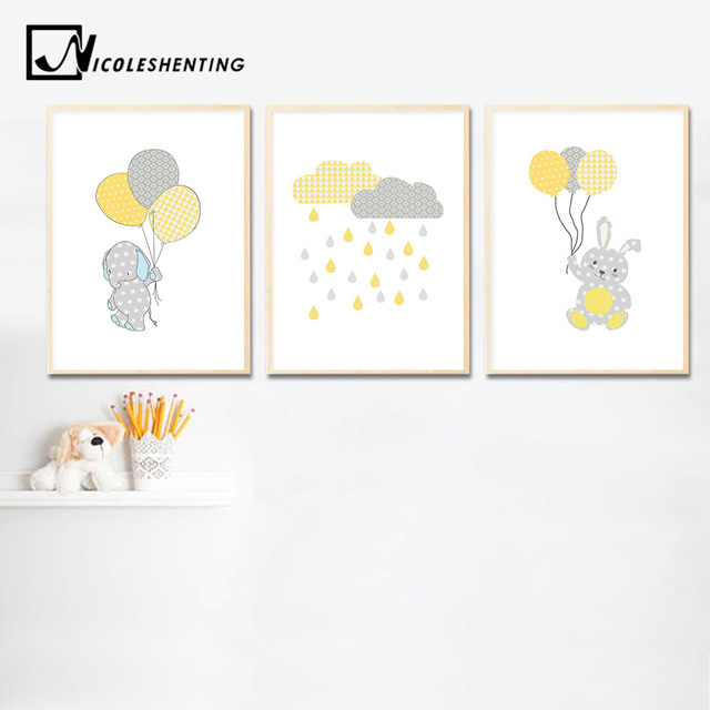 Bunny Elephant Balloon Wall Art Canvas Painting Cartoon Nursery Posters Prints Nordic Kids Decoration Picture Baby