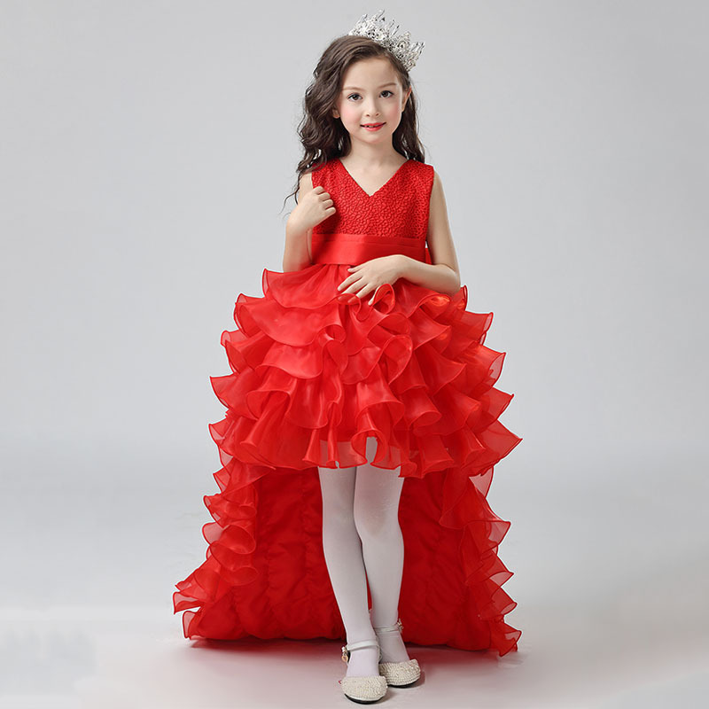2017 New Design Kids Girls Princess Long Trailing Dress Flower Girl wedding/birthday/party/performer/host/prom Dress Age 5-16Y girls champagne short front long back flower girl dress for wedding trailing formal party vestidos girls clothes 2017 skf154024