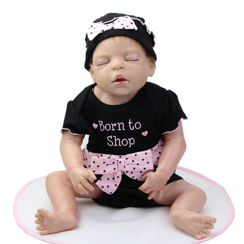 Realistic 22 Inch Sleeping Reborn Baby Doll Girl Silicone Vinyl Lovely Princess Girl Dolls Wearing Dark Clothes Kids Xmas Gift handmade 22 inch newborn baby girl doll lifelike reborn silicone baby dolls wearing pink dress kids birthday xmas gift