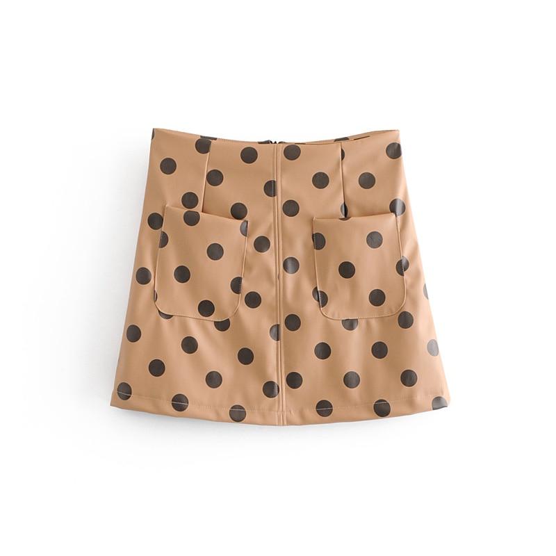 Women Dot PU leather Shorts Skirts Fashion Spring Summer Casual Dance Ladies Wind Skirt Above Knee Mini Kawaii Female Skirts