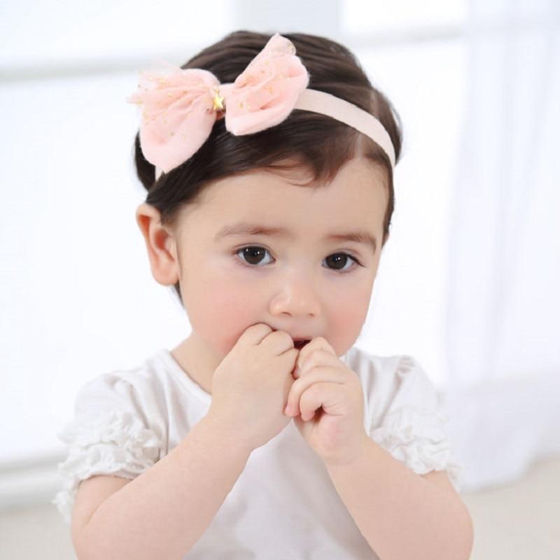 Naturlawell Elastisk Hårbånd Barn Jente Hodetelefon Lace Bows Stjerner Trykt Turban Knot Head Wraps For Nyfødt Foto Prop HB051S
