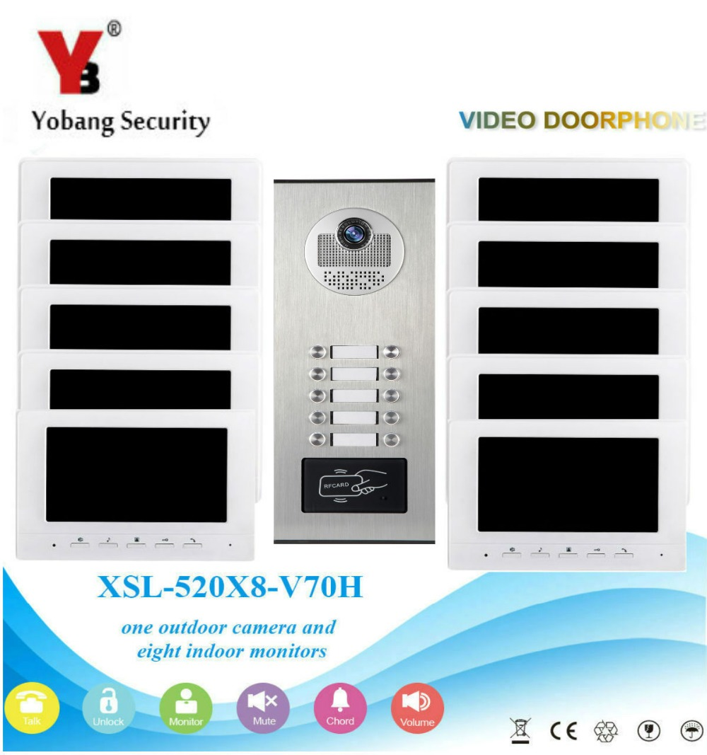Yobang Security Wired 7 Inch LCD Color Screen Monitor Waterproof Door Phone Intercom 1000TVL CMOS IR Camera For Multi Apartments