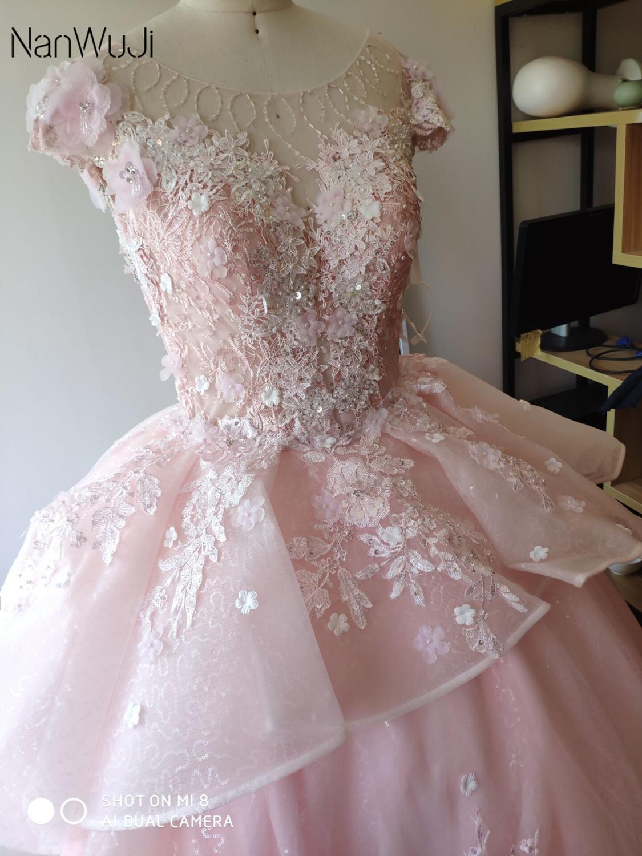Robes de Quinceanera rose gonflées 2019 haut perlé doux 16 robes de bal ans robe de bal de fête d'anniversaire - 5
