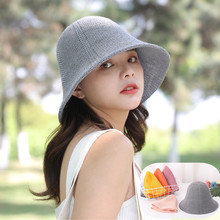 2019 candy color cotton knit beach visor spring and summer autumn ladies solid basin cap fisherman hat foldable