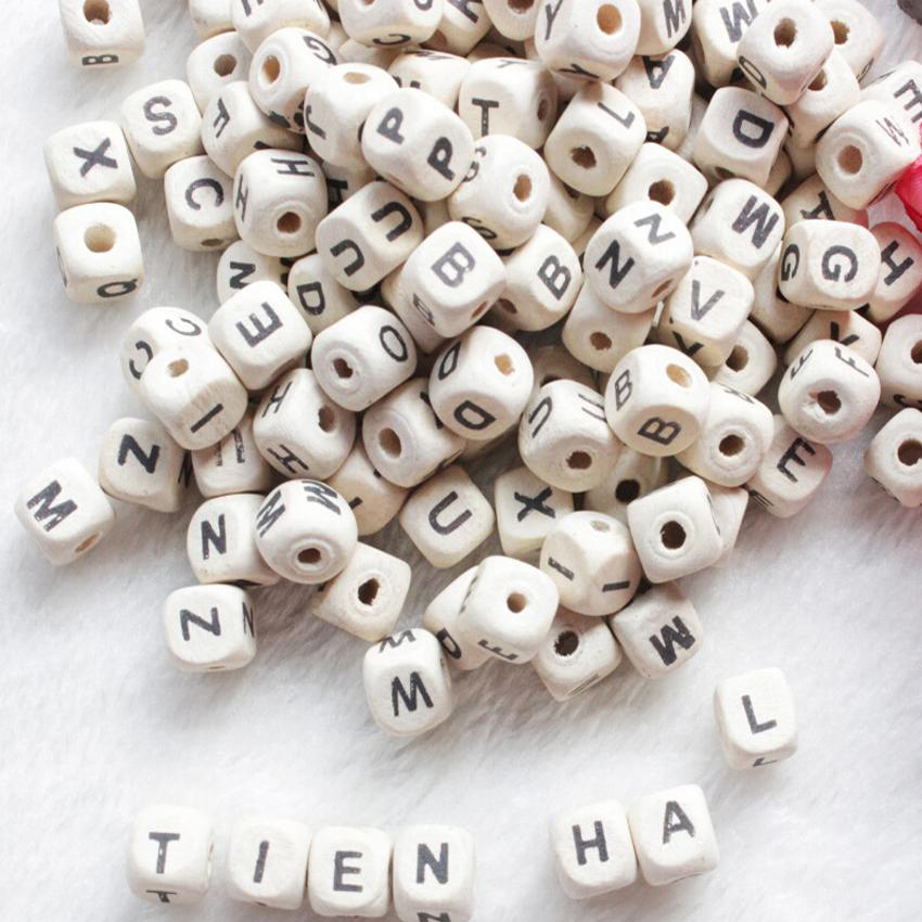 Wood Beads 200pcs/lot Natural Alphabet Letter Cube Wooden Bead 8x8mm 10x10mm For Jewelry Making DIY Bracelet Neklace Loose Beads