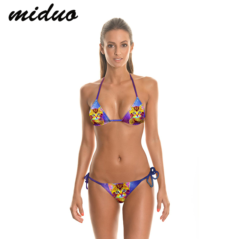 Miduo Personality womens swimwear 2016 Cute Cat Printed Halter bikini Top Low Waist bathing suits maillot de bain femme