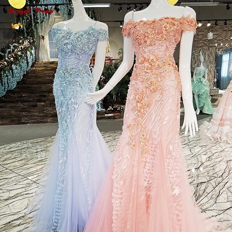 2018 Fashion Mermaid evening dresses of lace up back to back Off Shoulder appliqued lace In Pink Blue New Favourite