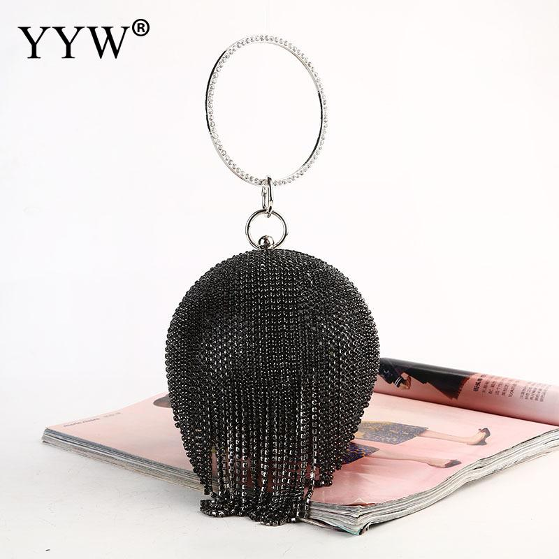 HTB1yxNYX2jsK1Rjy1Xaq6zispXa8 - Sliver Diamonds Rhinestone Round Ball Evening Bags For Women Fashion Mini Tassels Clutch Bag Ladies Ring Handbag Clutches