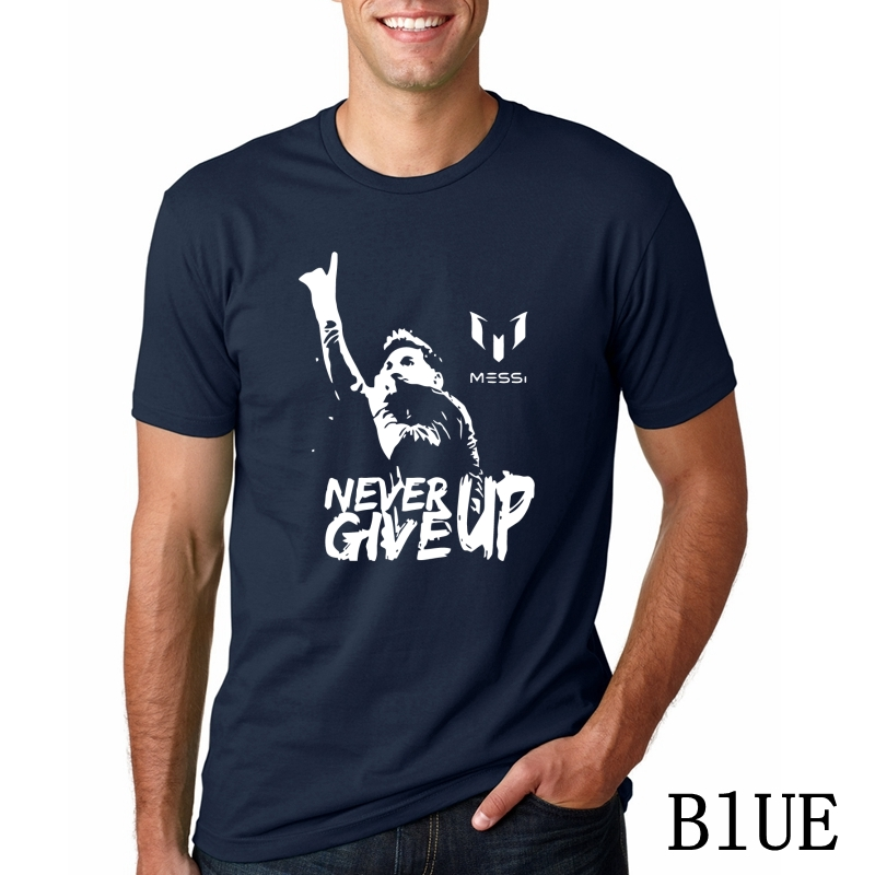 hot sale online 6f55d 1159d US $6.39 20% OFF Leo Messi NEVER GIVE UP Tshirt FC BARCELONA T shirt MESSI  Cotton Jersey Fans for Shirt-in T-Shirts from Men's Clothing on ...