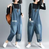 2018 Autumn Women Literary Denim rompers womens jumpsuit fat MM Casual Jeans Suspender Pants Jumpsuits Overalls nine pants w224