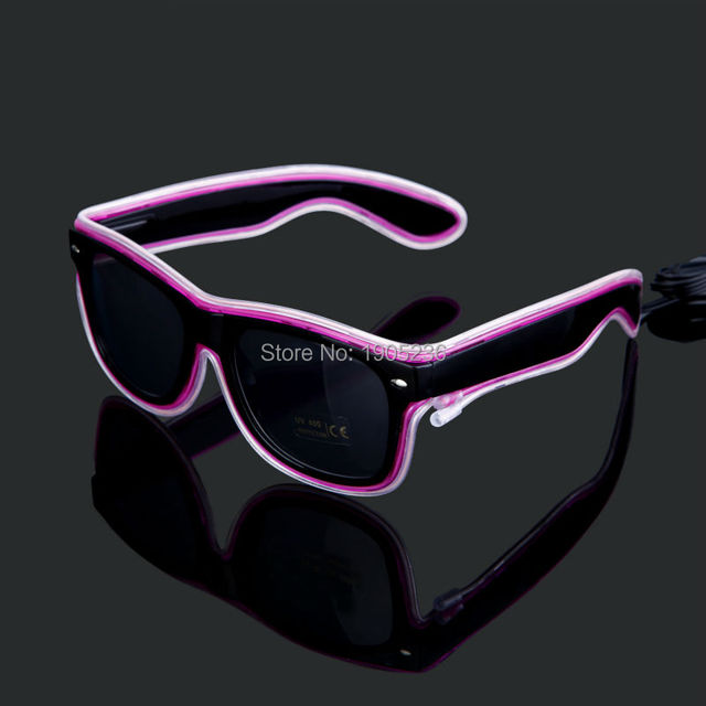 Black Frame LED EL Wire Glasses Light Up Glasses Rave Glasses ...