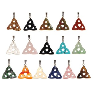 Image 1 - Wholesale 12ps/lot Triangle Pendant Carving Hollow Natural Stone Pendants  Rubys Fuchsite Charm 7 Chakra Pendulum Free Shipping