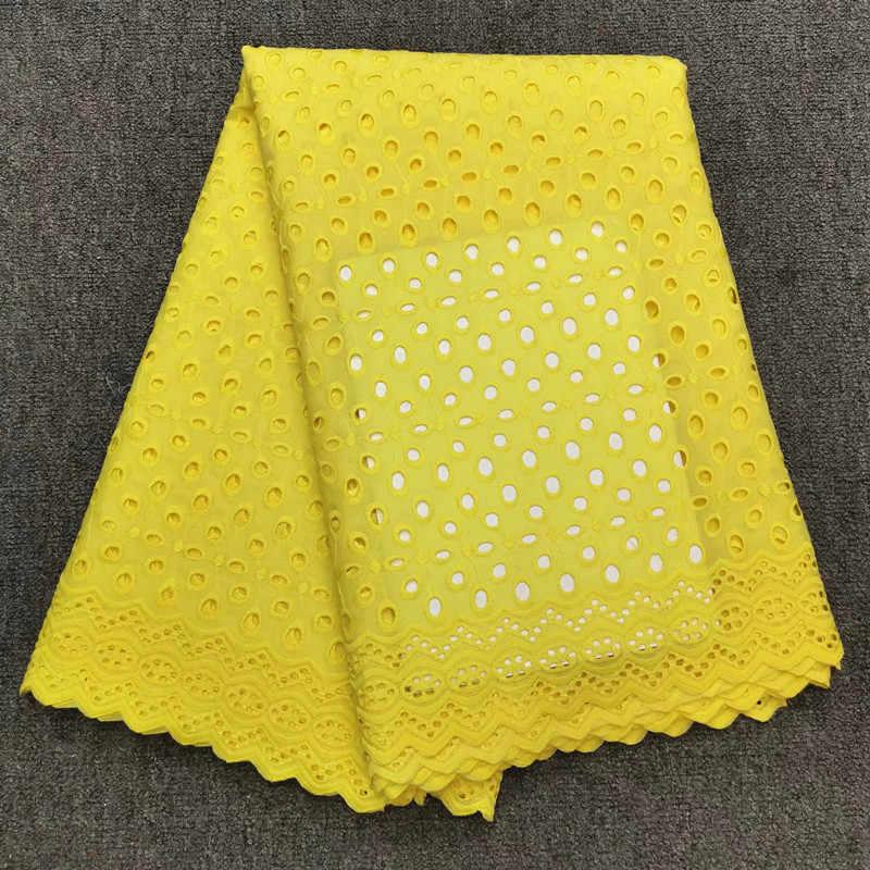 Швейцарский швейцарская кружевная вуаль в африканском стиле ткань желтый сухая кружевная ткань высокого качества хлопка кружевной ткани выдалбливать 5yard/setHFZ