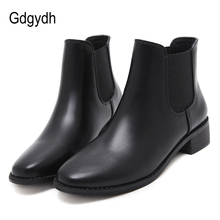 Gdgydh Spring Autumn Brief Ankle Boots For Women Booties Rubber Sole Black Low Heels Leather Ladies Casual Shoes Good Quality