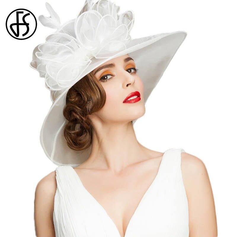 8913daf0a57e73 FS Elegante Kentucky Derby Hüte Für Frauen Sommer Organza Große Breite  Krempe Motorhaube Fedora Hochzeit Party