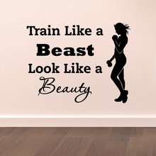 Sports Wall Decal Quotes Train Like A Beast Look Beauty Vinyl Stickers Gym Fitness Motivation Health Art