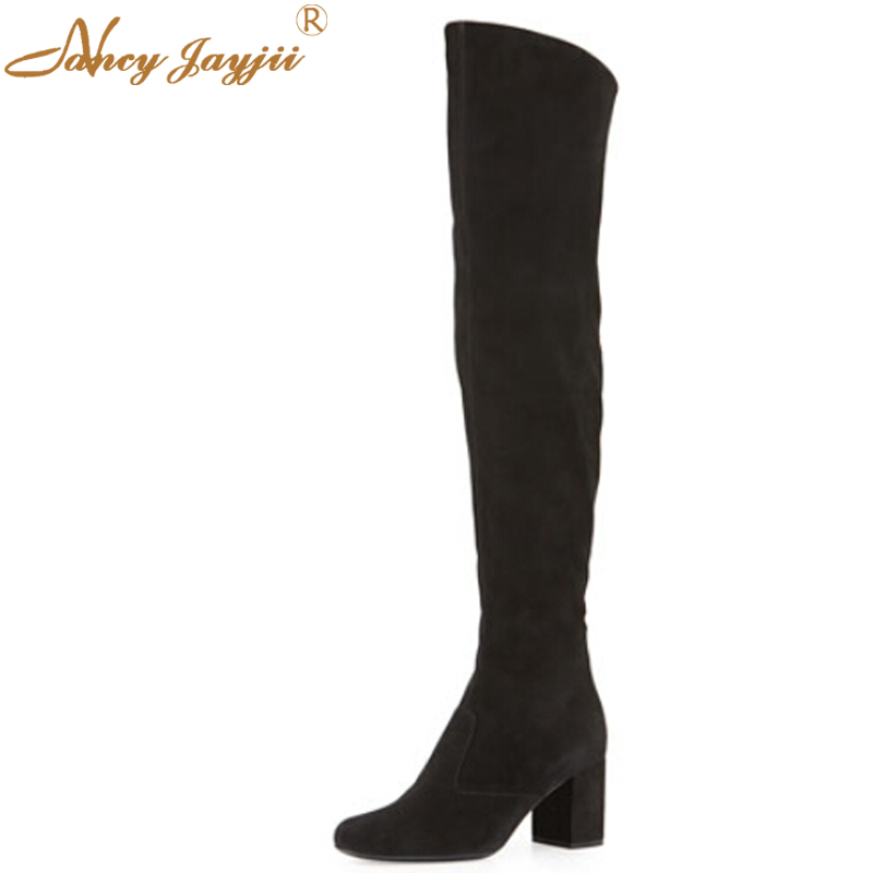 Black Soft Suede Winter Casual Career Round Toe High Heels The Knee High Boots Zapatos Mujer Shoes For Woman Plus Size 4-16 nancyjayjii 2017 fashion lady black suede peep toe high heels ankle boots shoes for woman zapatos botas mujer plus size 5 14