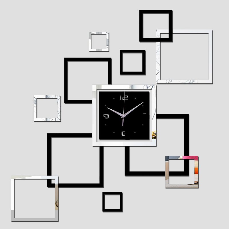 new real quartz living room modern wall clock clocks horloge watch DIY 3d acrylic mirror stickers Home Decora