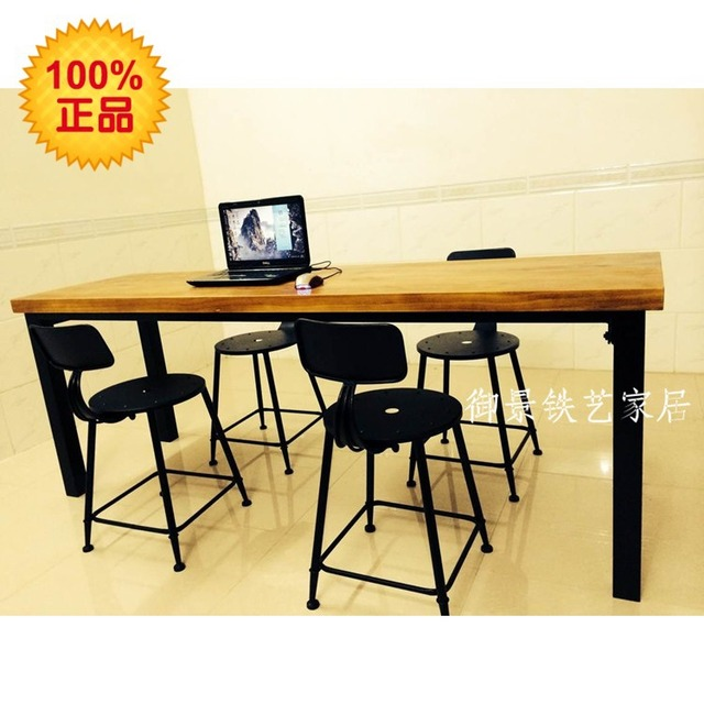 American Village Loft Wood, Wrought Iron Tables And Chairs Starbucks Casual  Table Desk Negotiation Table