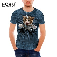 FORUDESIGNS Mens High Quality Brands T Shirt Funny 3D Dog Cat Summer Fashion Cool Animal Short Sleeve Tees for men youth