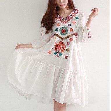 0d5d5f56a Verano blanco Boho Estilo Vintage túnica bordada a mano vestido mexicano  Hippie pueblo Retro Hippie Vestidos