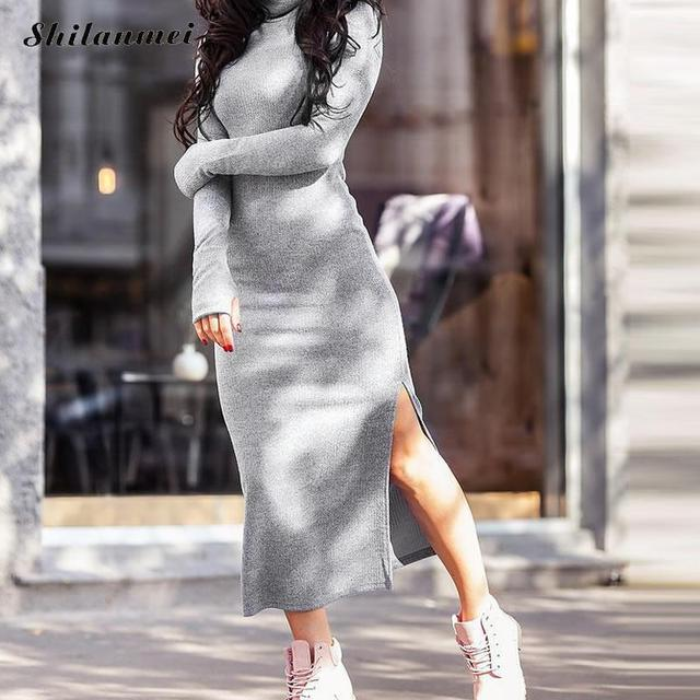 d8c290a185e Knitted Dresses Woman Warm Winter Long Sleeve Turtleneck Sweater Dress Sexy Side  Slit Slim Female Pullovers Elegant Maxi Dress
