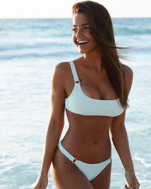268ef6f49599c FALLINDOLL Sexy Bikini Set Women Swimwear Swimsuit High Cut Thong Bottom  Brazilian Bikini Beach Bathing Suit