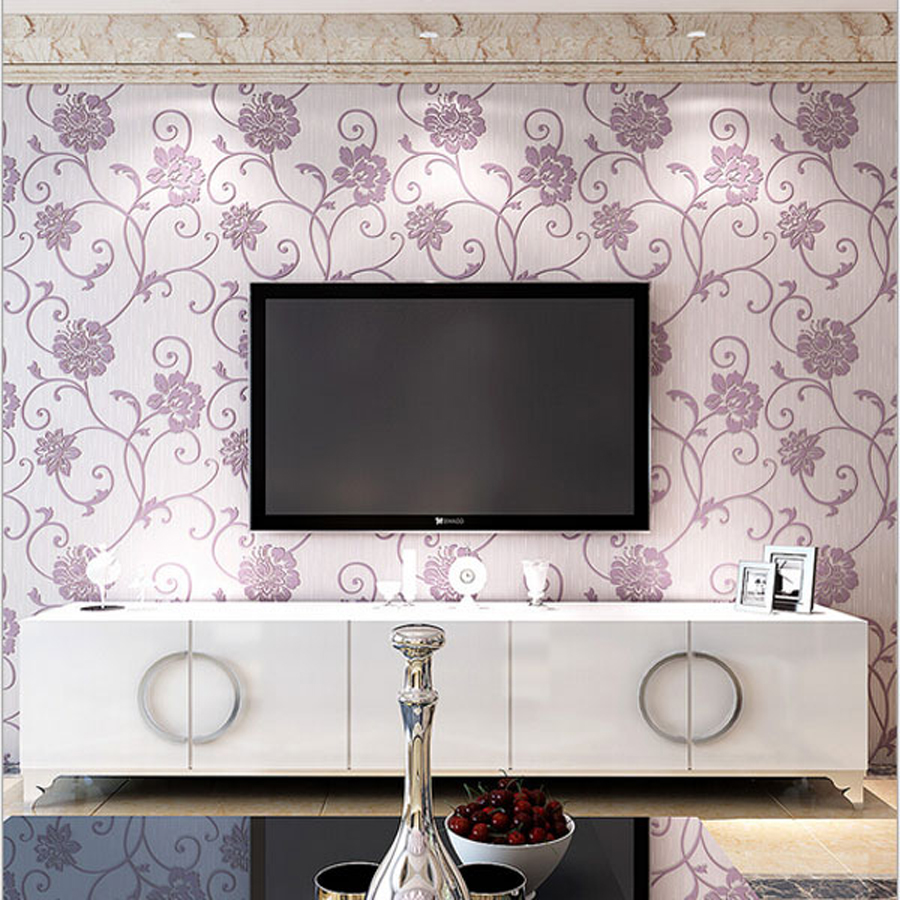 Purple Romantic Big Flower Wall Stickers Home Decor: Aliexpress.com : Buy New Pastoral Fresh Wallpapers