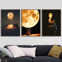 Creativity Wall Art Canvas Painting Surrealism Moon Nordic Posters And Prints Pictures For Living Room Bedroom Home Decor