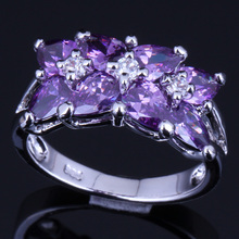 Trendy Purple Cubic Zirconia 925 Sterling Silver Ring For Women V0088