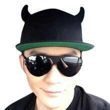 Wholesale Novelty Cotton OX Horn Snapback Caps Men , Punk Snapback Baseball Caps Women , Punk Horns Cap , Outdoor Hip Hop Hats