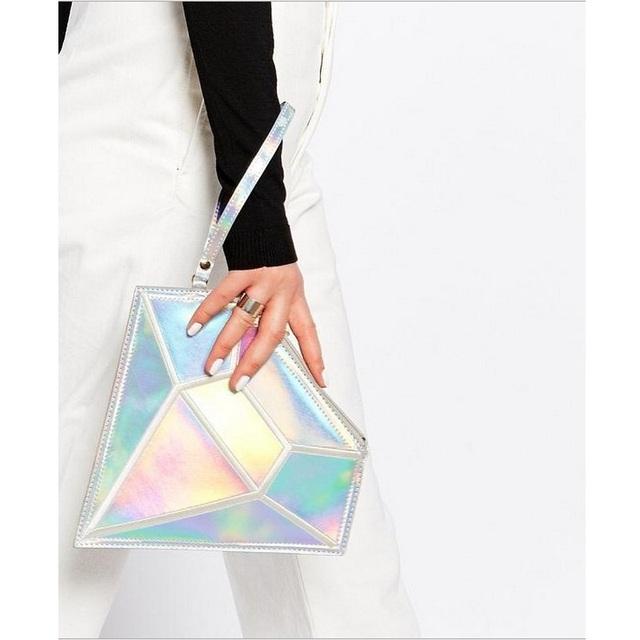 Pacote de Moda feminina Diamante Forma Mujer Bolsa Embreagens Dia Sinfonia Laser Holográfico Holograma Saco Geométrica Pérola Clutch Casual