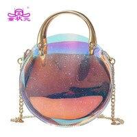 2018 The New Fashion Colour Sweet Teenage Girl Crossbody Shoulder Bag Shine Laser Bag High Quality Mini Round Composite Bag