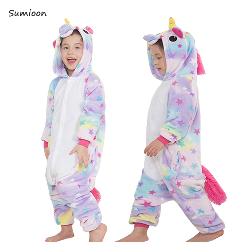 d898631e0 Baby Boys Girls Pajamas set Winter Warm Children Animal Unicorn ...