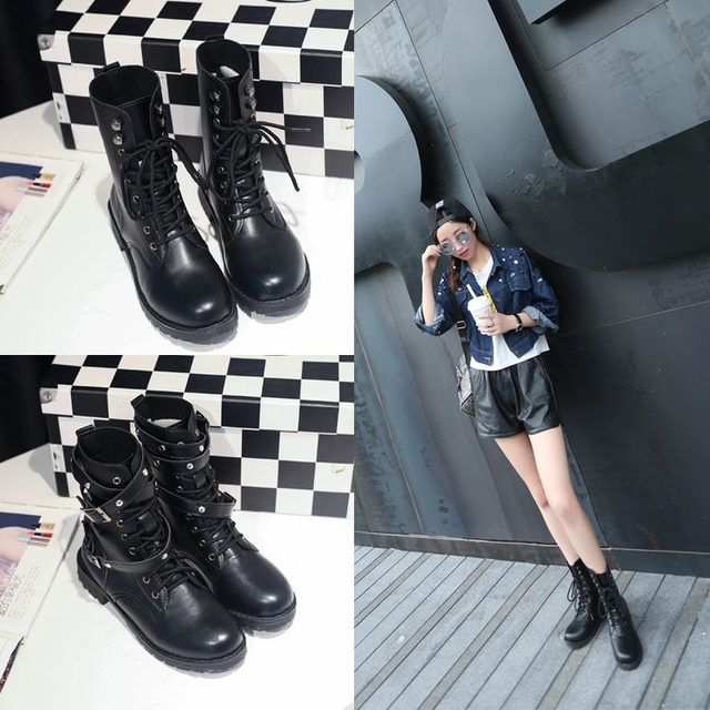 2019 New Buckle Winter Motorcycle Boots Women British Style Ankle Boots Gothic Punk Low Heel ankle Boot Women Shoe Plus Size 43 26