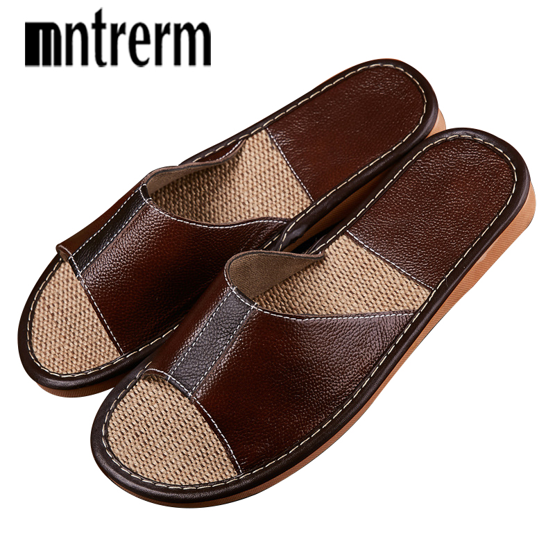 Mntrerm Men's Shoes Spring And Summer Cow Leather Home Indoor Non-slip Slippers 2018 New Hot Genuine Leather Slippers Couple