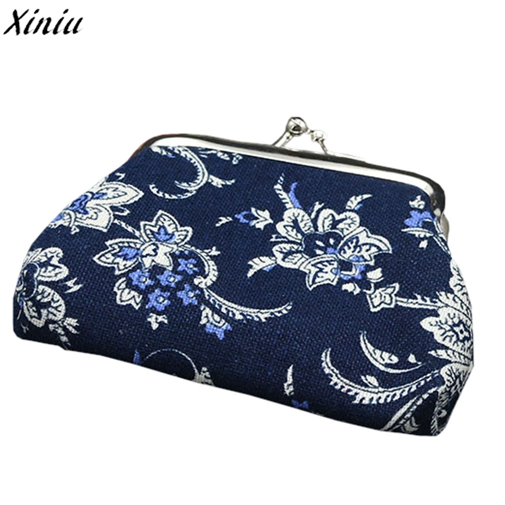 Women Mini Wallet Lady Chinese Style Vintage Flower Pattern Coin Purse Hasp Clutch Wallet Bag Porte Monnaie #7710