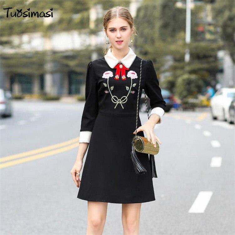 3abbcb488b4e1 2018 printemps automne nouvelles femmes de patchwork noir complet manches broderie  perles dirll robe (LB025) dans ...