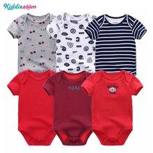 Novorozené dětské kostýmy 6ks / lot Short Sleever Dětské oblečení 3 6 9 12M Baby Jumpsuit 100% bavlněné dětské oblečení Infan Roupas de Bebe
