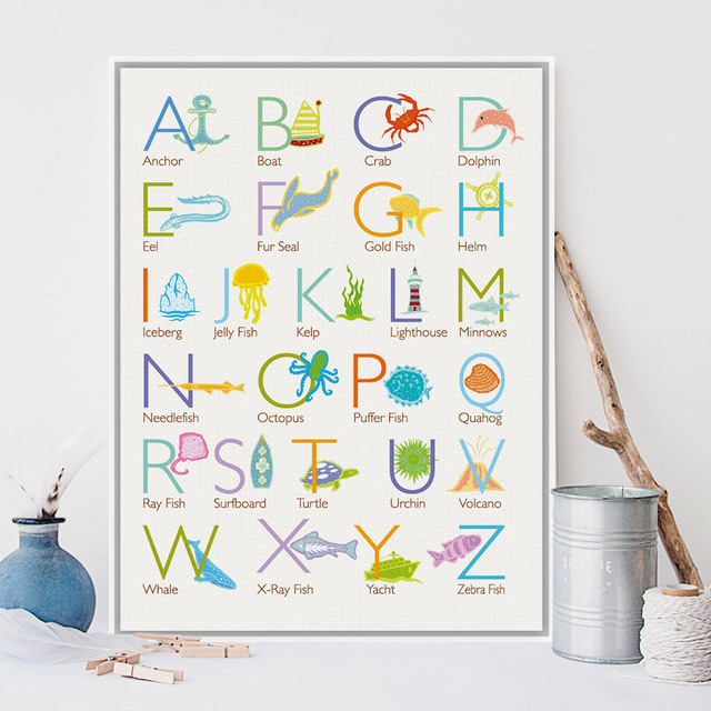 Modern Cartoon Sea Animals Alphabet Chart A4 Art Print Poster Kawaii ...