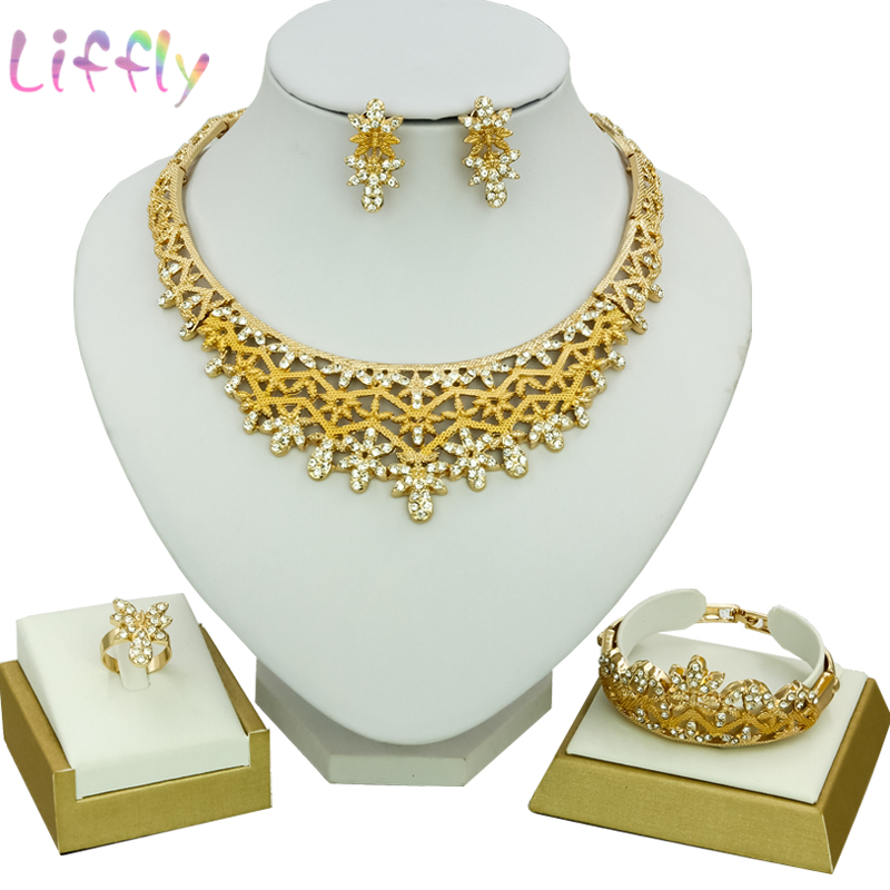 2019 Flower Crystal Jewelry Sets For Women New Goldtone Silk Crystal Necklace Earrings <font><b>Ring</b></font> <font><b>Bracelet</b></font> <font><b>Indian</b></font> Wedding Jewelry Set image