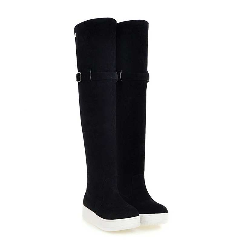 ФОТО Warm Winter Snow Boots Women Over The Knee Boots Thick Heel Shoes Women Fur Buckle Long Boots Size 34-43 7784