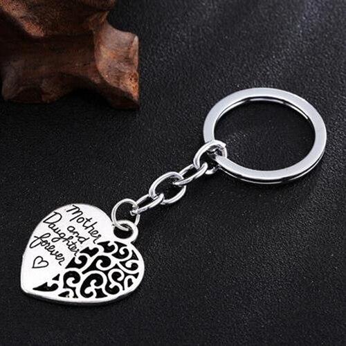 Mère et fille Forever creux coeur porte-clés fête des mères cadeau porte-clés