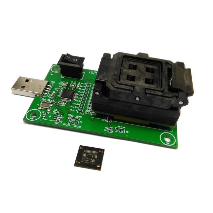 все цены на eMMC153/169 Clamshell socket with USB interface for recover data test socket size 12x16 Pin Pitch 0.5mm for BGA169 BGA153 онлайн
