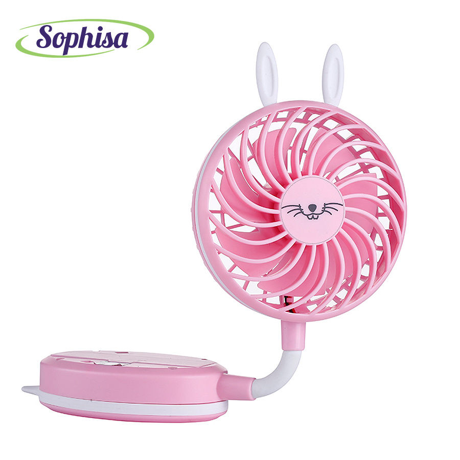 Sophisa Cartoon Rabbit Style Folding Handheld Mini Fan Usb