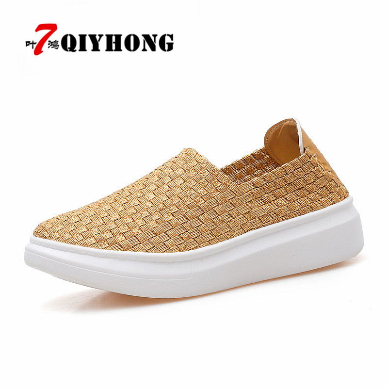 QIYHONG Women Loafers Platform Casual Shoes Slip On Women Summer Flats Shoes Mesh Breathable Footwear Women Woven Shoes 2017 new summer zapato women breathable mesh zapatillas shoes for women network soft casual shoes wild flats casual shoes